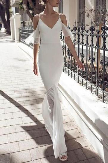 White Elegant Spaghetti Straps V-neck Prom Dress