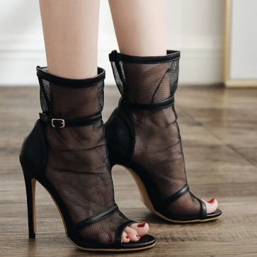 Women's Black Peep-toe Tulle Hollow Stiletto Heels Boots Prom Shoes