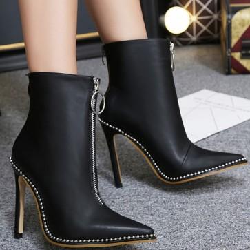 Women's Black Pointed Toe Stiletto Heels Ankle Boots Double Zipper