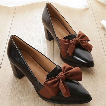 Women's Chunky Heel Pump Shoes Closed Toe With Bow