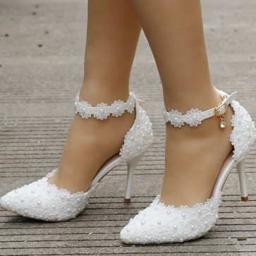 Women's Closed Toe Stiletto Heels Wedding Shoes With Ankle Strap