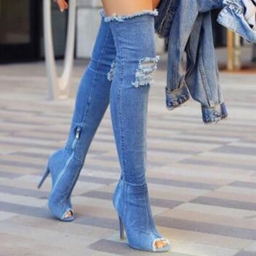 Women's Denim Stiletto Heel Over The Knee Boots With Zipper Shoes