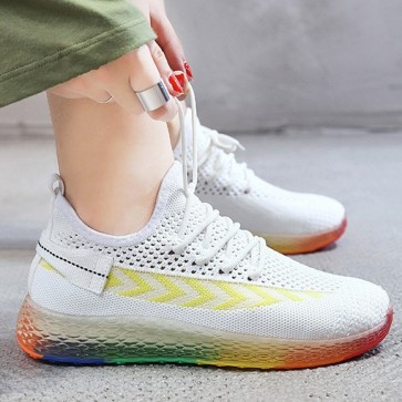 Women's Mesh Colorful Platform Sneakers With Lace-up