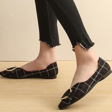 Women's Plaid Print Flat Heel Pumps Closed-toe Shoes