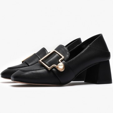 Women's PU Chunky Heel Closed Toe Shoes With Metal Buckle