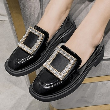Women's PU Flat Heel Closed Toe Loafers Shoes