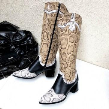 Women's Snakeskin Print Pointed Toe Low Heels Boots