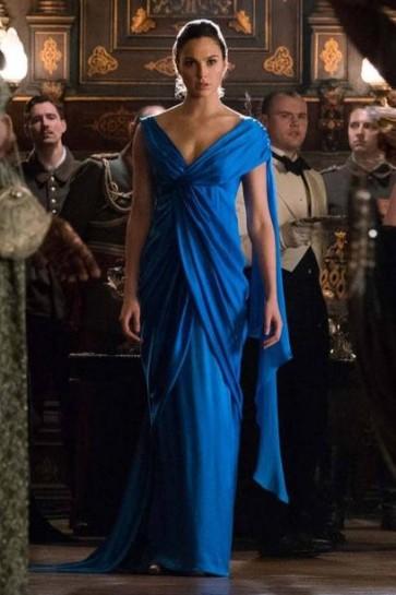 Wonder Woman Royal Blue V-neck Ruffled Dress