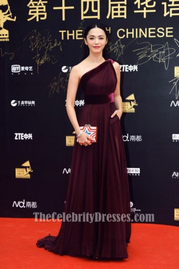 Yao Chen Burgundy Evening Dress 14th Chinese Media Awards