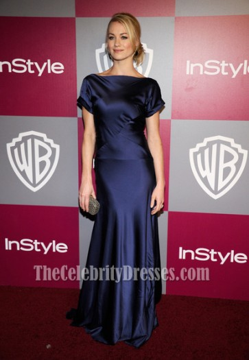 Yvonne Strahovski Dark Navy Prom Dress Golden Globes Gala Red Carpet Dresses