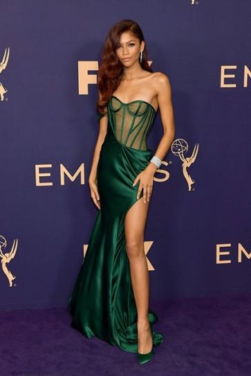 Zendaya Sexy Dark Green One Shoulder Slit Dress 2019 Emmys Awards