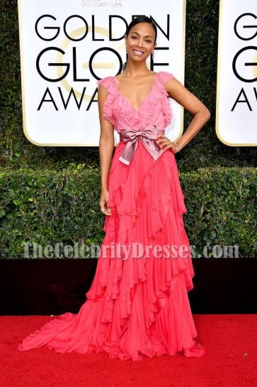Zoe Saldana Deep V-neck Ruffle Evening Ball Gown Golden Globes 2017 Red Carpet Dress