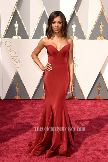 Zuri Hall Dark Red Evening Prom Gown Mermaid Red Carpet Formal Dress Oscar 2016 1