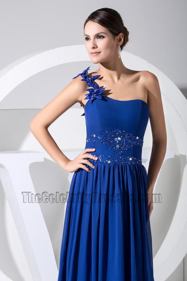 Royal Blue One Shoulder Formal Dress Prom Evening Dresses ...