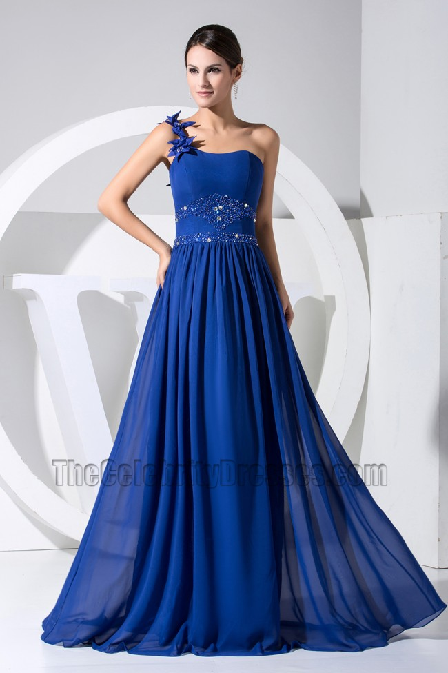 Royal Blue One Shoulder Formal Dress Prom Evening Dresses ...