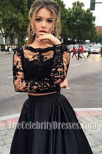 937bce8c78983 Black Two Pieces Evening Gowns Long Sleeves Satin Prom Dress ...