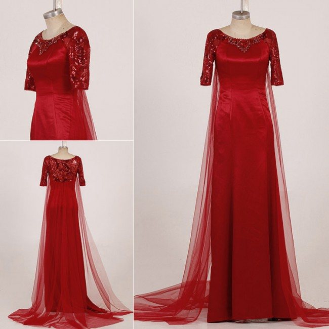 3383d3d0486b1 Deep Red Sequined Watteau Train Formal Dress Evening Gown With Beading