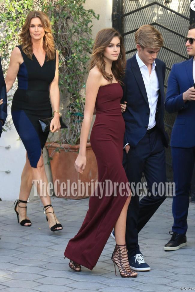 Kaia Gerber Burgundy Strapless High Slit Column Prom Gown The
