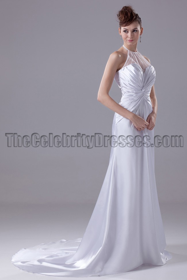 A line halter silk like satin wedding dresses for Satin silk wedding dresses