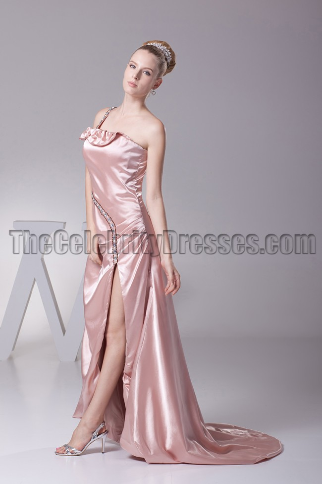 7db4d02fae7 One Shoulder Skin Pink Prom Gown Evening Formal Dress ...