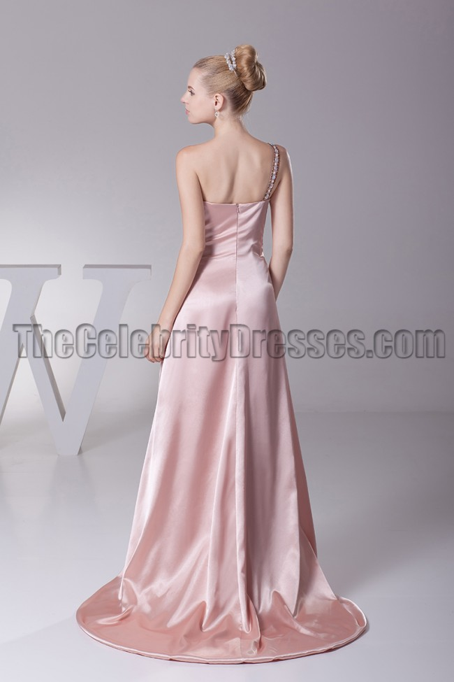 e5350731967 One Shoulder Skin Pink Prom Gown Evening Formal Dress Zoom · alt