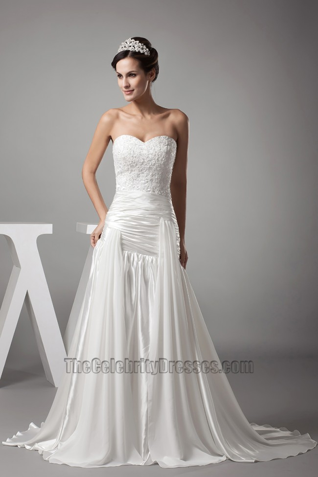 A line strapless sweetheart embroidery wedding dresses for Sweetheart strapless a line wedding dress