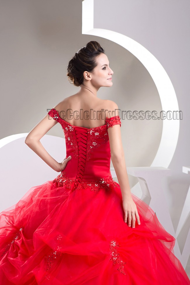 Ball Gown Red Off The Shoulder Beaded Lace Up Pageant