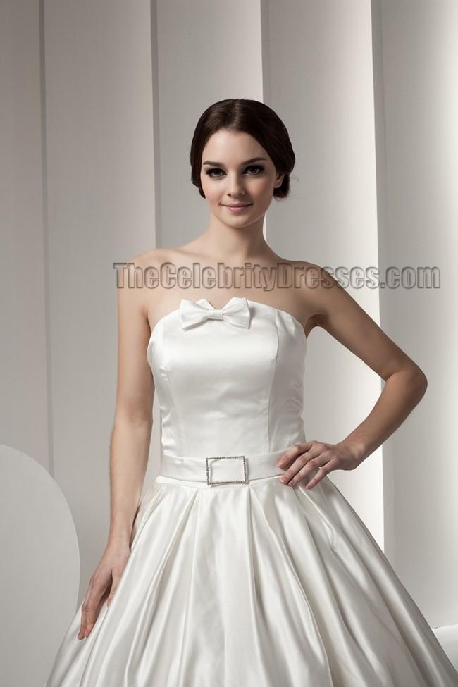 classic ball gown strapless floor length wedding dresses
