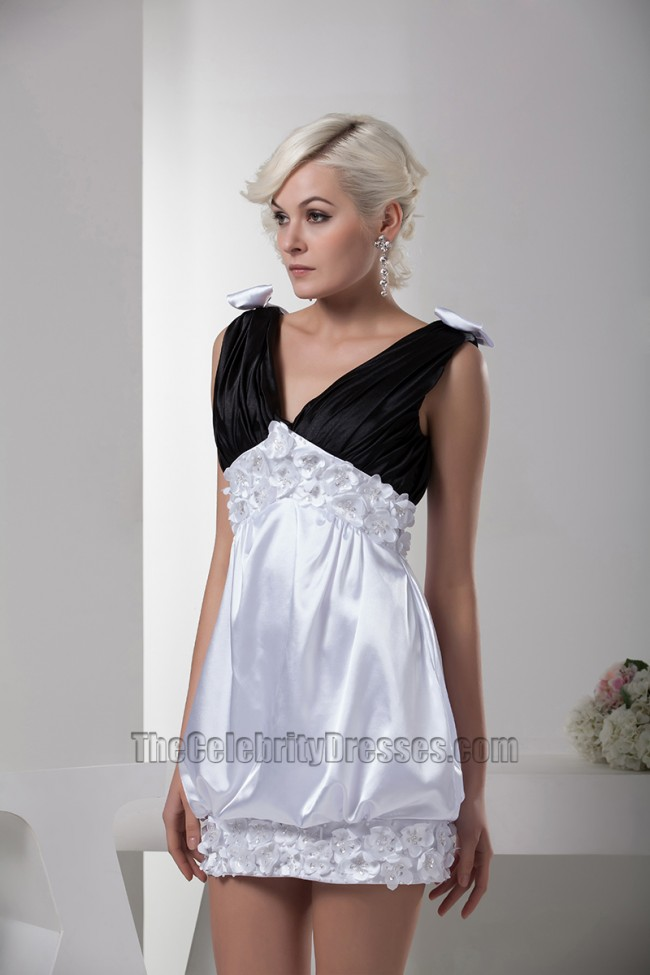 Cute Black And White V-Neck Party Homecoming Dresses ...