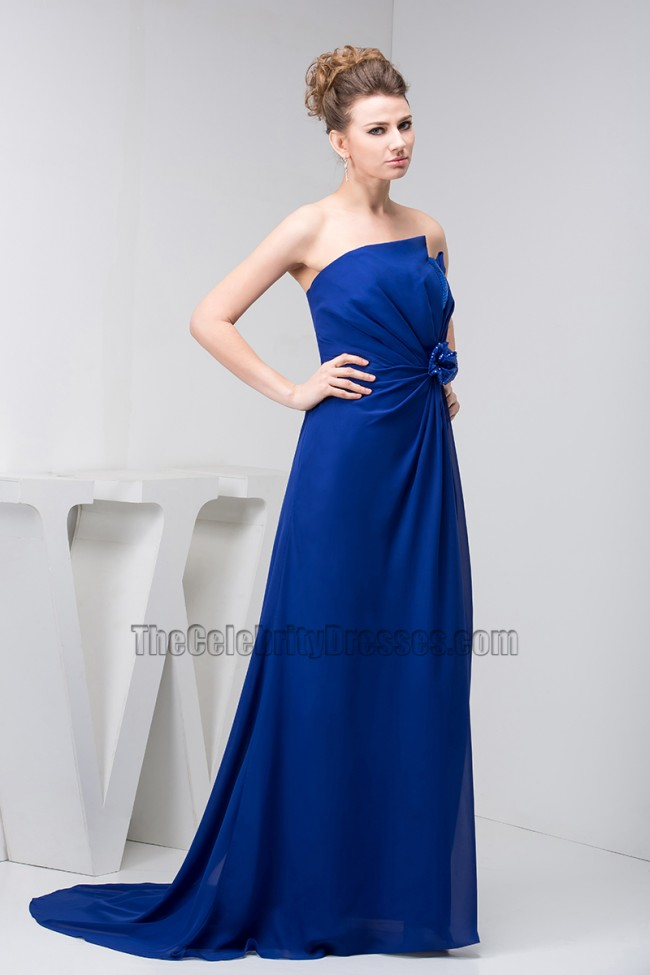 Dark Royal Blue Chiffon Strapless Prom Gown Evening ...
