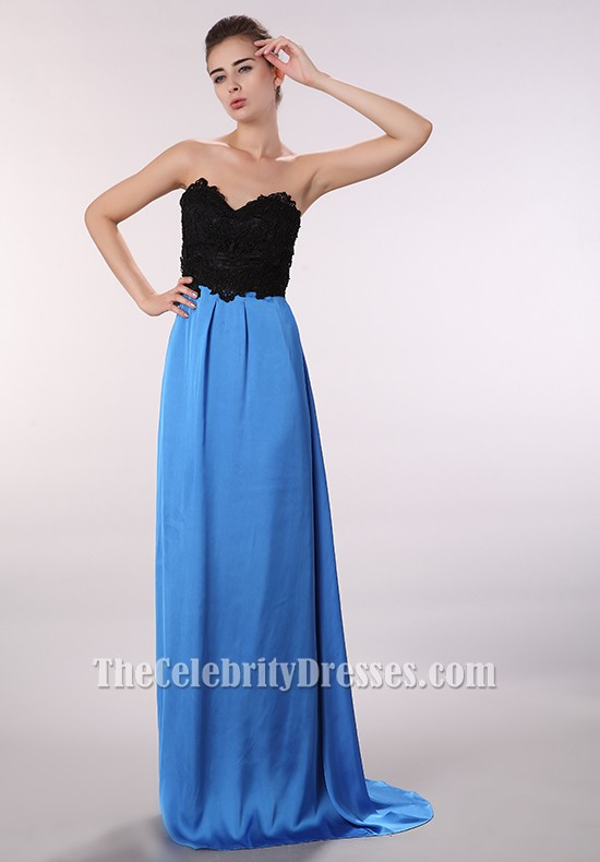 Discount Black And Blue Strapless Prom Gown Evening ...