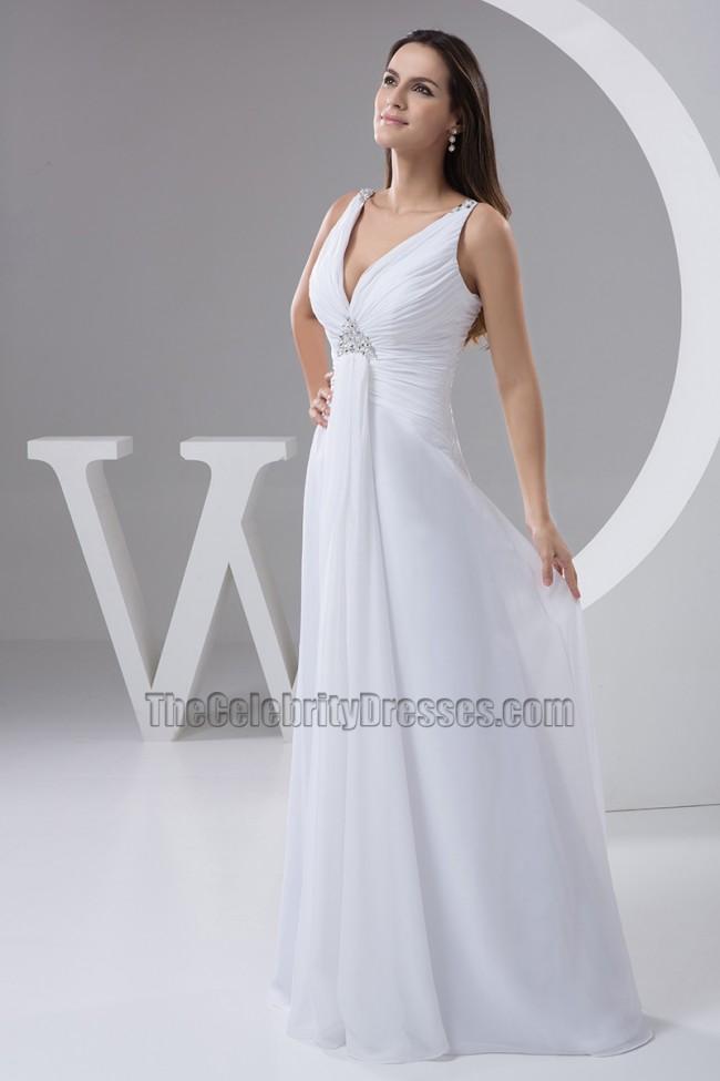 Discount chiffon a line floor length informal wedding for Informal wedding dresses cheap