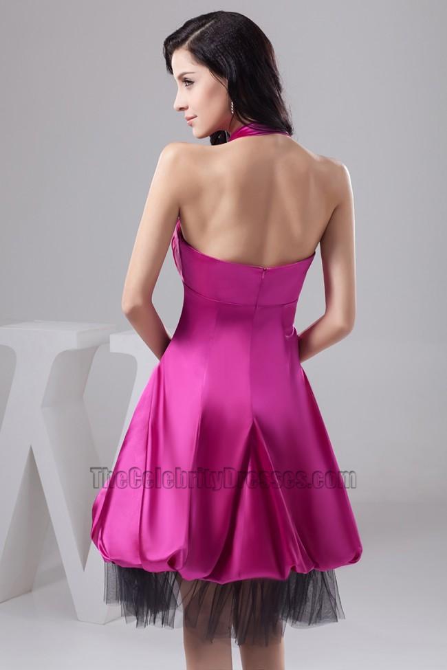 Discount Purple Halter Knee Length Cocktail Graduation Party Dress ...