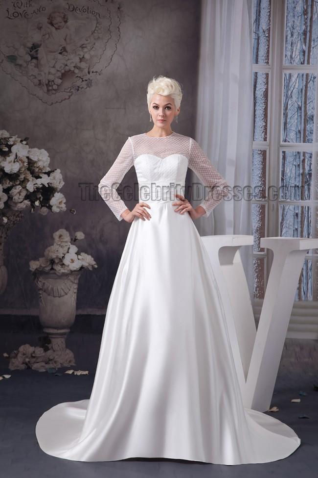elegant a line long sleeve chapel train wedding dresses 2  - Wedding Heels Cheap
