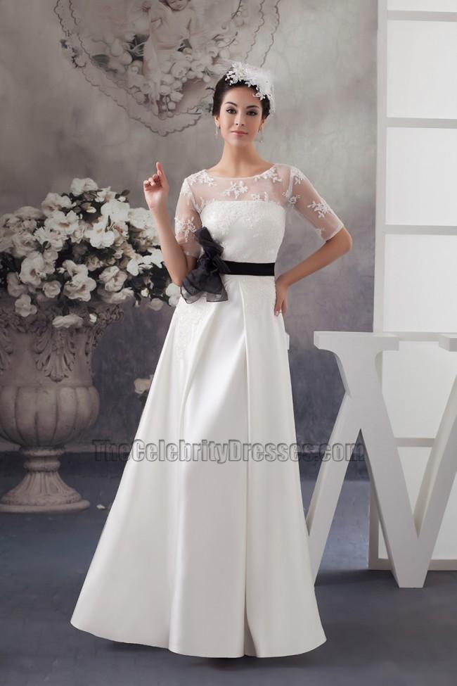 Elegant satin lace a line wedding dress with black belt for Lace wedding dress belt