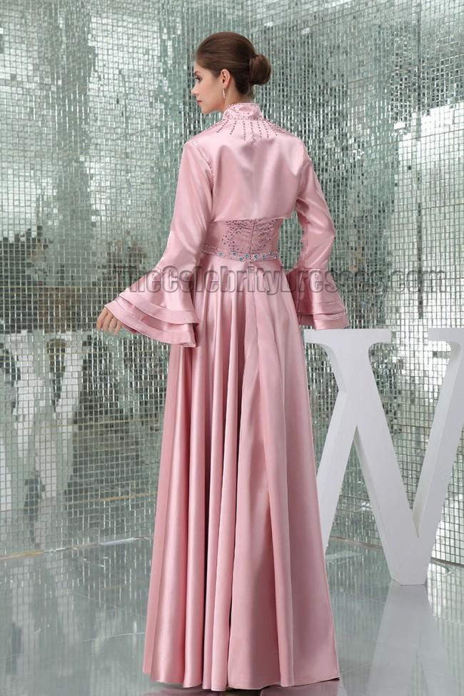 Skin Pink Beaded Strapless Formal Mother Of Bride Dresses