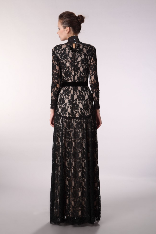 Floor Length Black Lace V-Neck Long Sleeve Evening Prom Dress ...