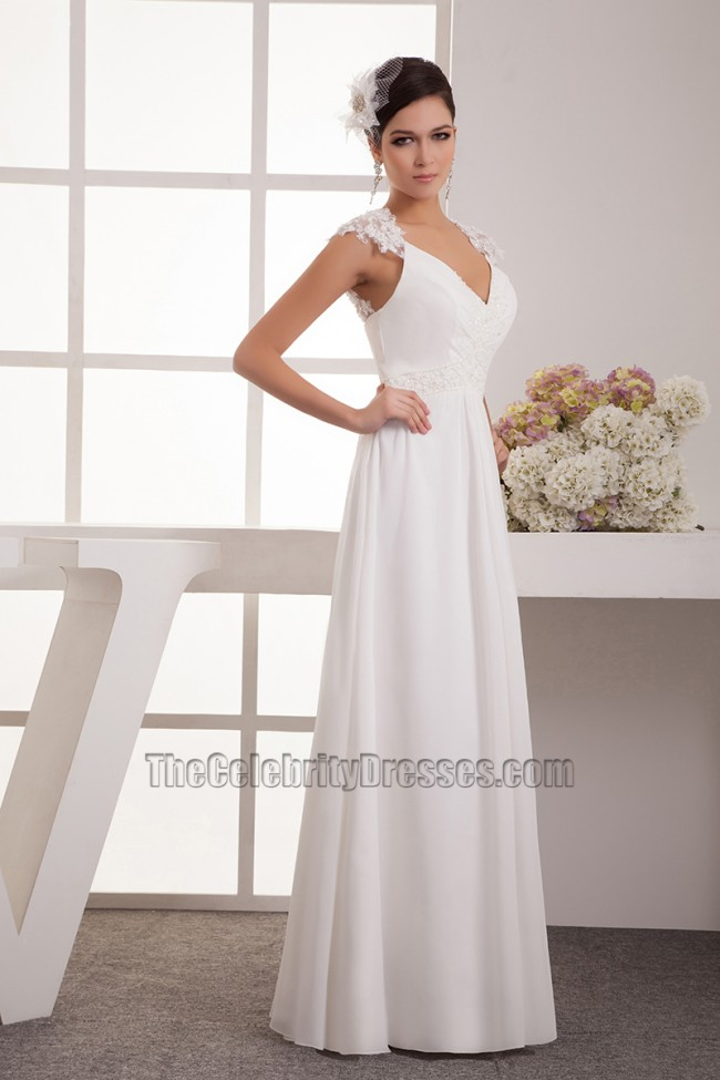 lace wedding dresses with cap sleeves floor length chiffon lace cap sleeve wedding dress bridal 5378