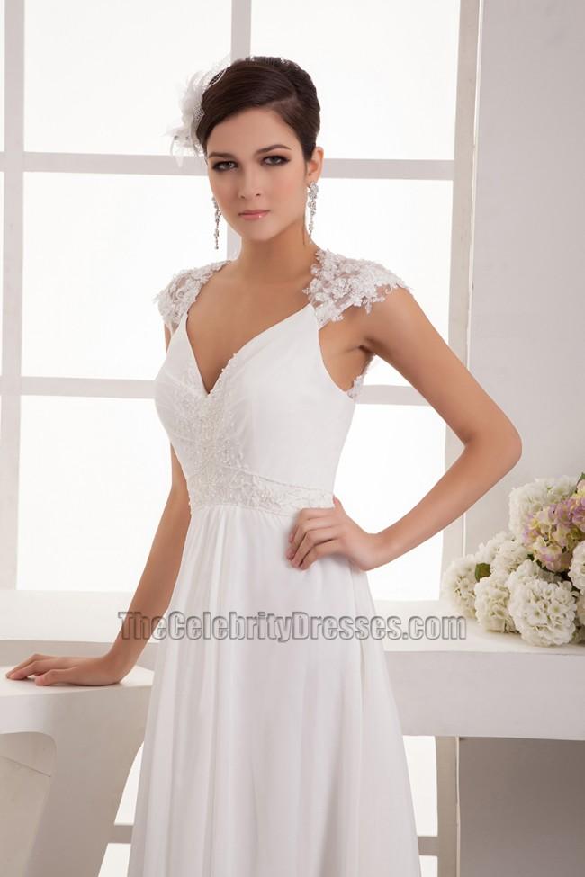 Floor length chiffon lace cap sleeve wedding dress bridal for Free wedding dress catalog