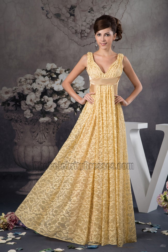 Floor Length Gold Lace V-Neck Formal Dress Prom Gown ...
