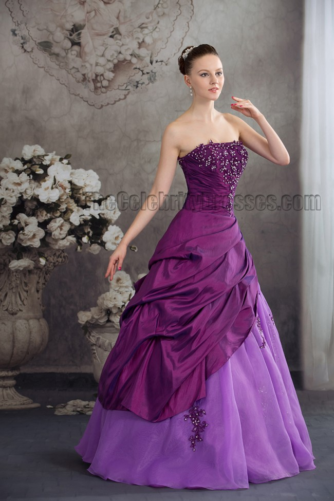 Floor Length Purple Strapless Embroidery A Line Formal