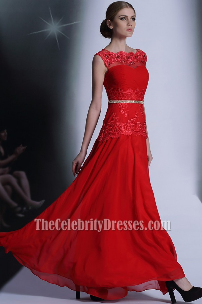 Floor Length Red Beaded Formal Dresses Evening Prom Gown