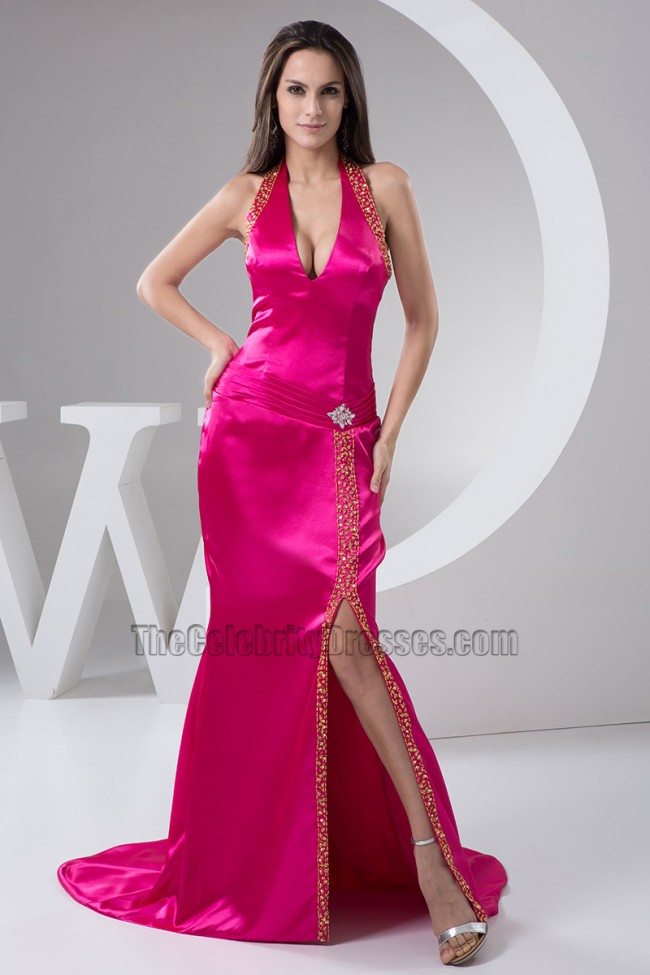 Fuchsia Halter Silk Like Satin Evening Gown Prom Dresses ...