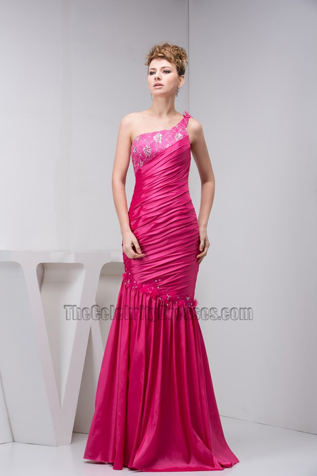Fuchsia One Shoulder Trumpet/Mermaid Evening Gown Prom Dress ...