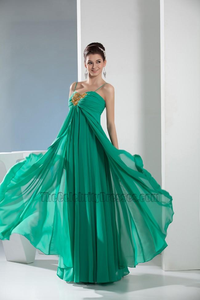 Hunter Chiffon Spaghetti Straps Prom Dress Evening Gown