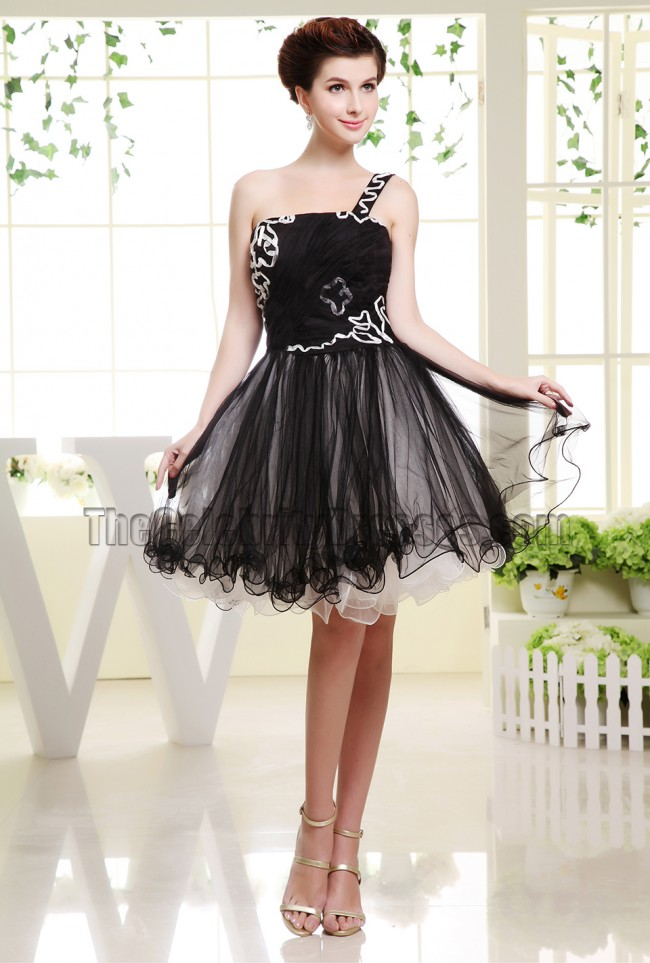 Cute Black Tulle One Shoulder Party Dress Homecoming Dresses ...