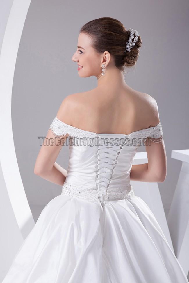 Off the shoulder taffeta ball gown wedding dresses for Off the shoulder taffeta wedding dress