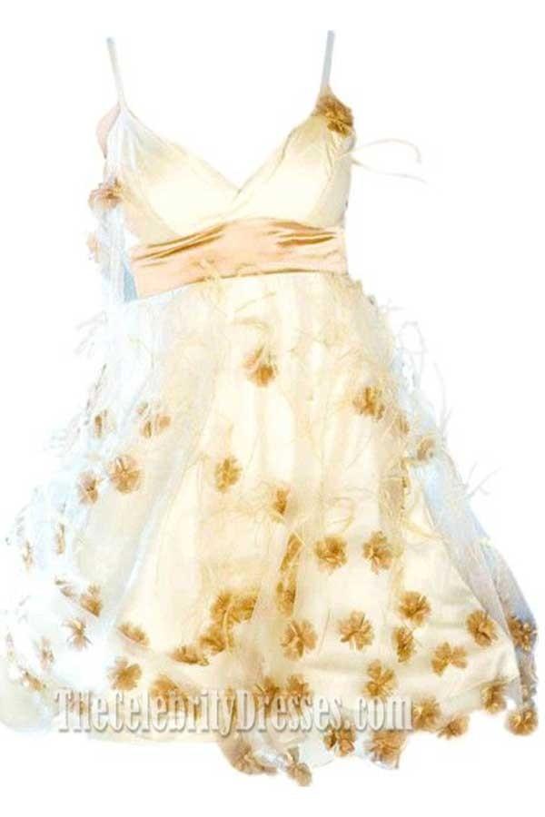 Vestido Gabriela Ivory Spaghetti Straps Floral Party Dress High ...