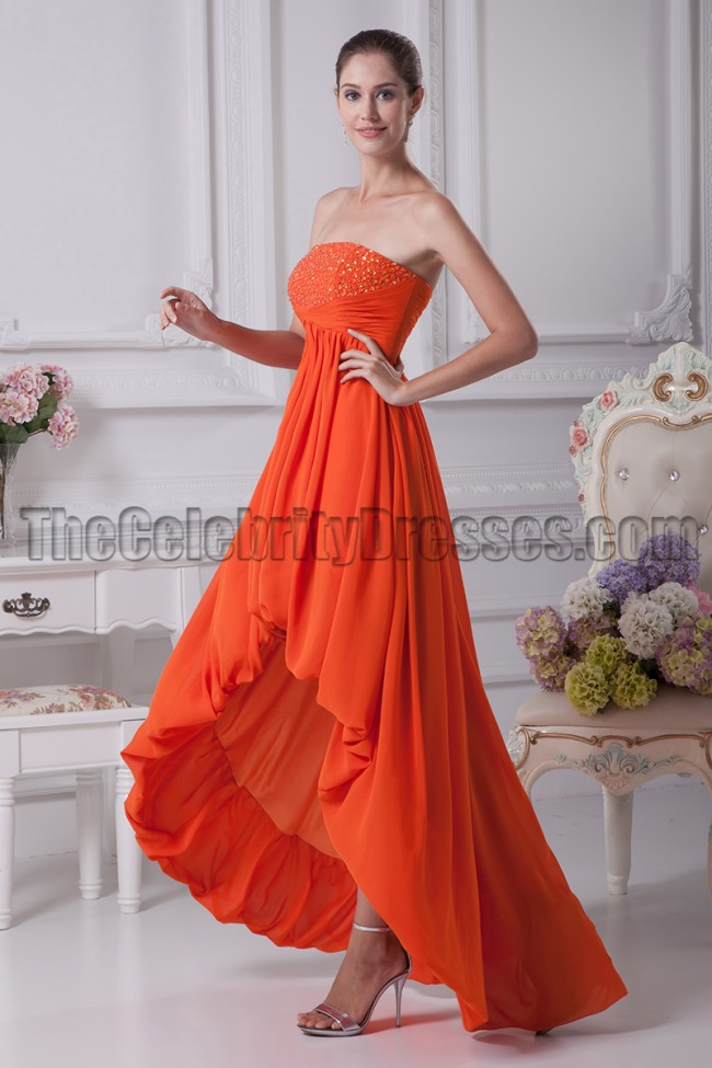 Low prom dress cut orange