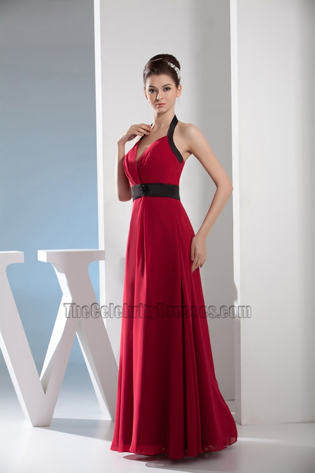 Red And Black Chiffon Halter Prom Dress Evening Gown ...